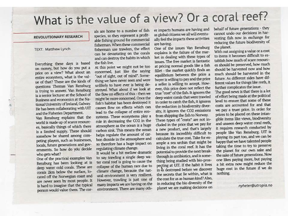 Coral Value: Publications and outreach | UiT