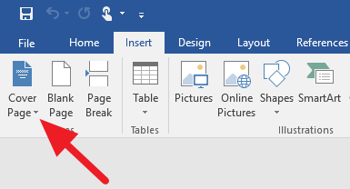 Screenshot from Word. Arrow pointing to Cover page button.