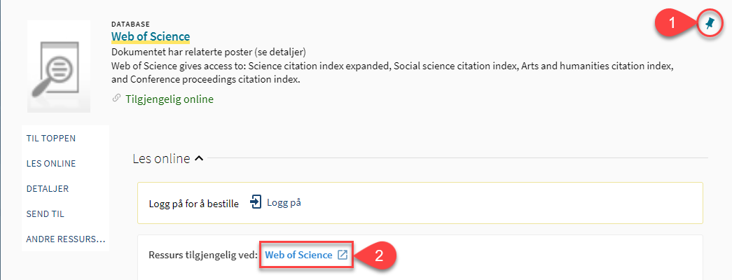 Screenshot of Web of Science entry in Oria with bookmark and link to full text areas highlighted
