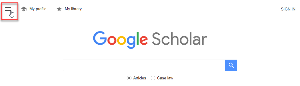 Screenshot of Google Scholar with menu selected
