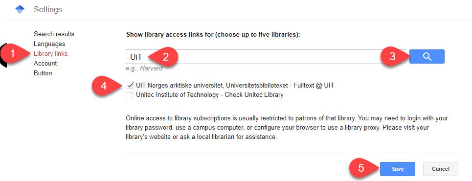 Screenshot of Google Scholar Library links settings area