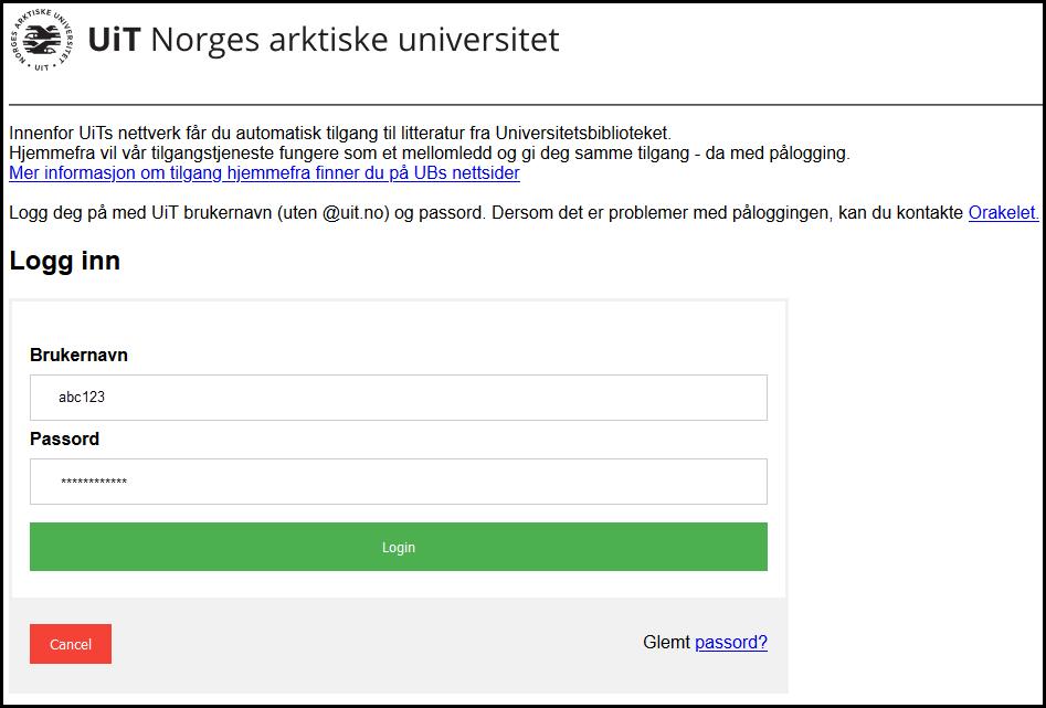 Screenshot of EZProxy login window