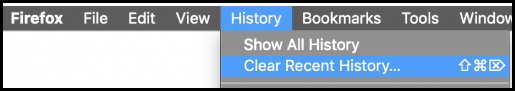 Screenshot Firefox browser options to Clear Recent History