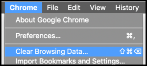 Chrome browser options to Clear Browsing Data