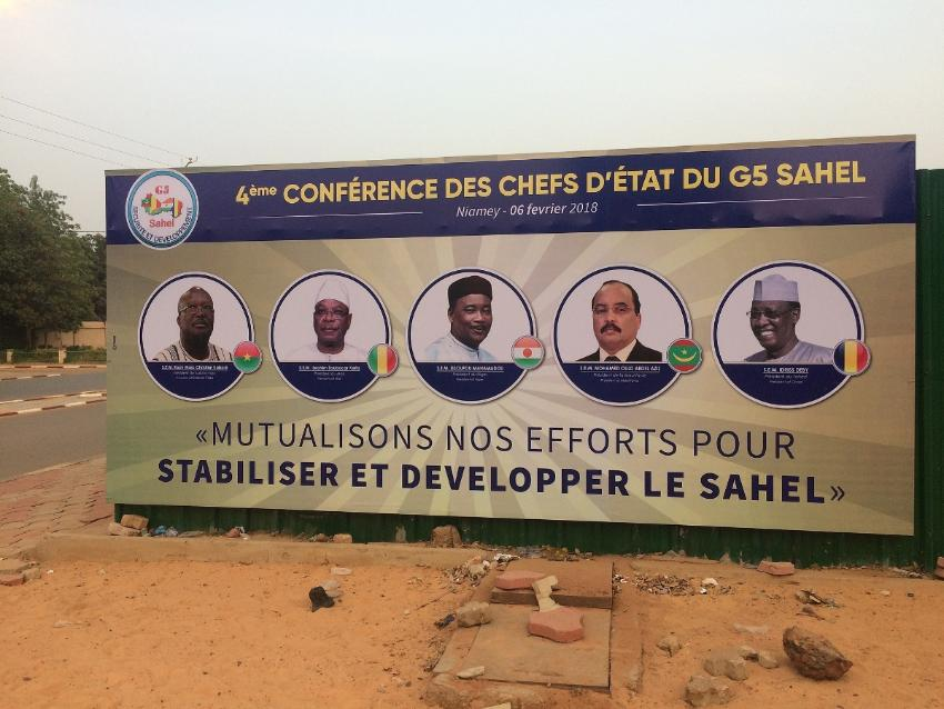 A billboard in Niamey, Niger, announcing a summit of Heads of State, including Chadian President Idriss Déby (first from right), of the G5-Sahel regional security forum, February 2018.